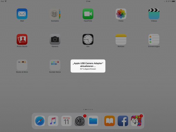 Meldung iPad Update Camera Adapter