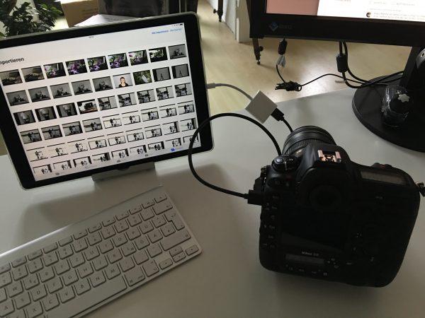 Nikon D5 mit Kamera Adapter an iPad Pro